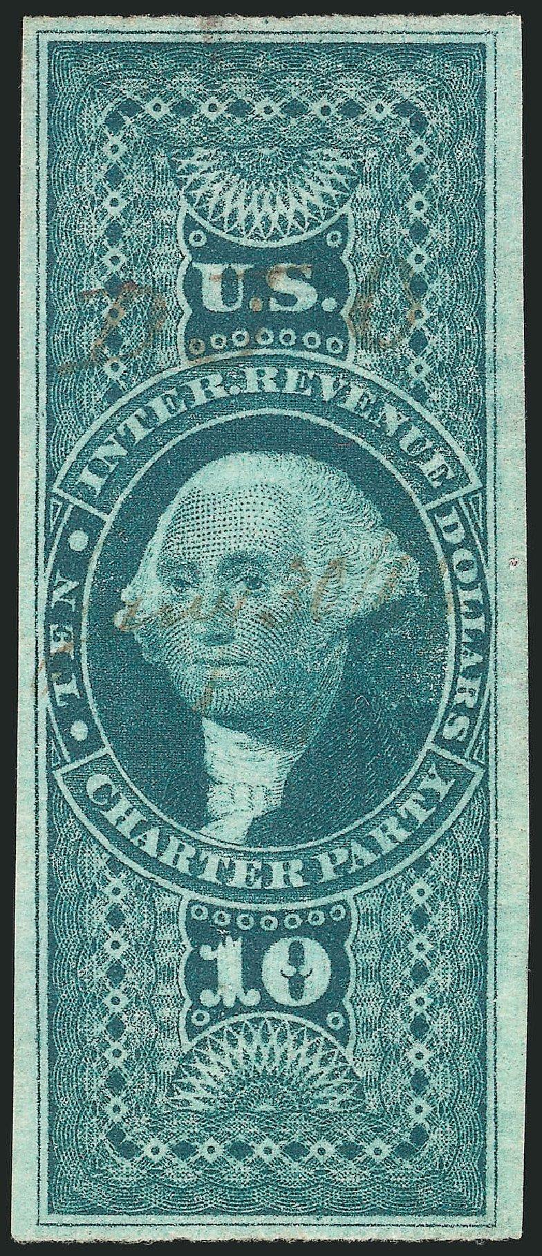 US Stamp Value Scott Cat. R93: 1862 US$10.00 Revenue Charter Party. Robert Siegel Auction Galleries, Apr 2015, Sale 1096, Lot 969