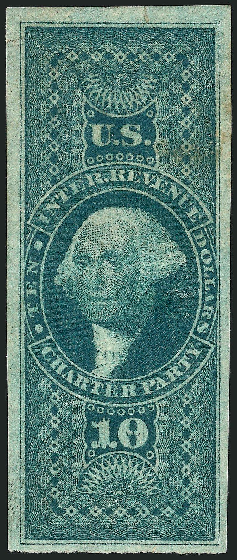 Prices of US Stamps Scott Cat. R93: 1862 US$10.00 Revenue Charter Party. Robert Siegel Auction Galleries, Dec 2014, Sale 1089, Lot 260
