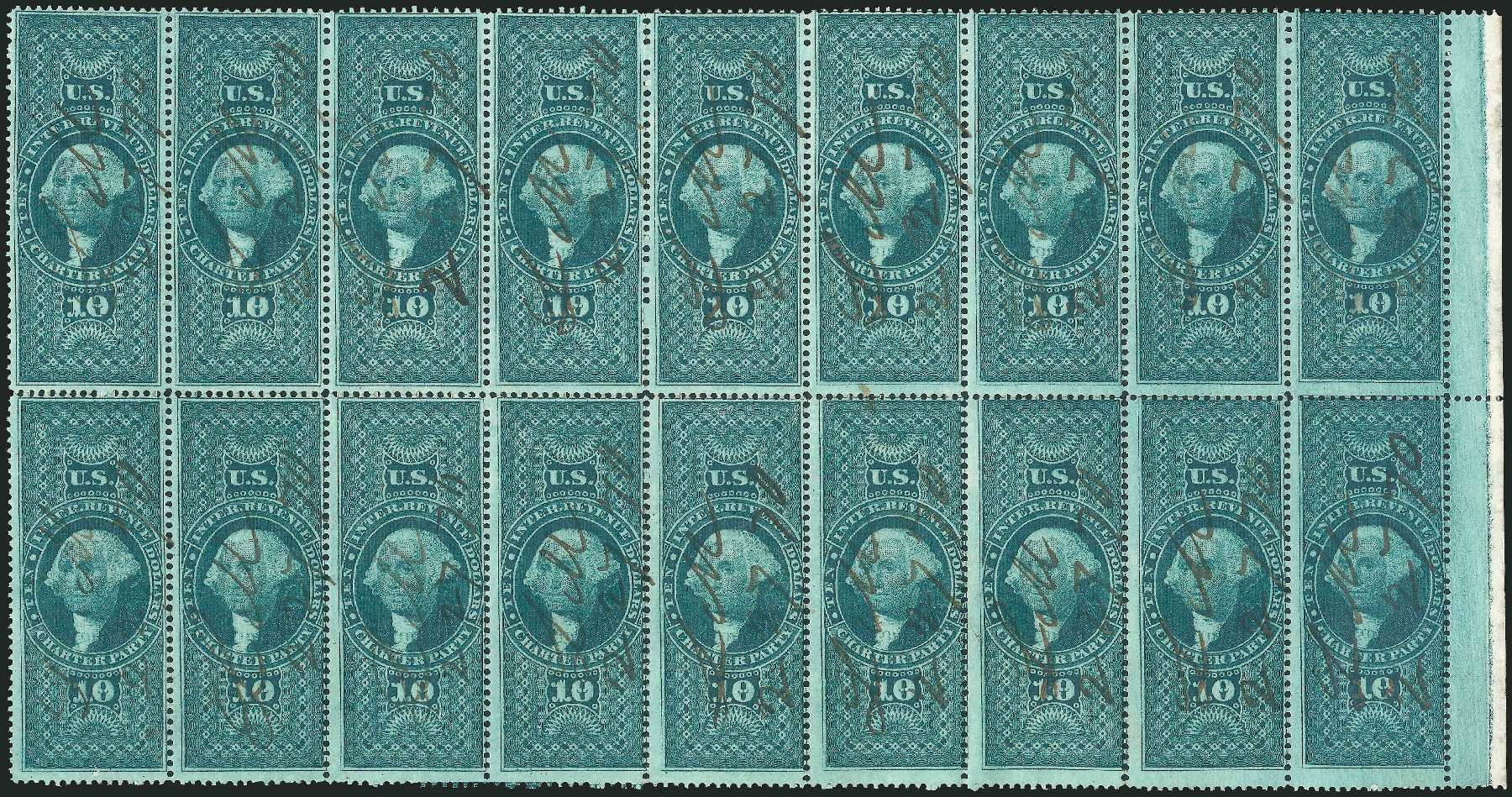 Value of US Stamps Scott R93 - US$10.00 1862 Revenue Charter Party. Robert Siegel Auction Galleries, Dec 2014, Sale 1089, Lot 440
