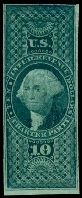 Cost of US Stamp Scott # R93 - 1862 US$10.00 Revenue Charter Party. Daniel Kelleher Auctions, May 2015, Sale 665, Lot 141