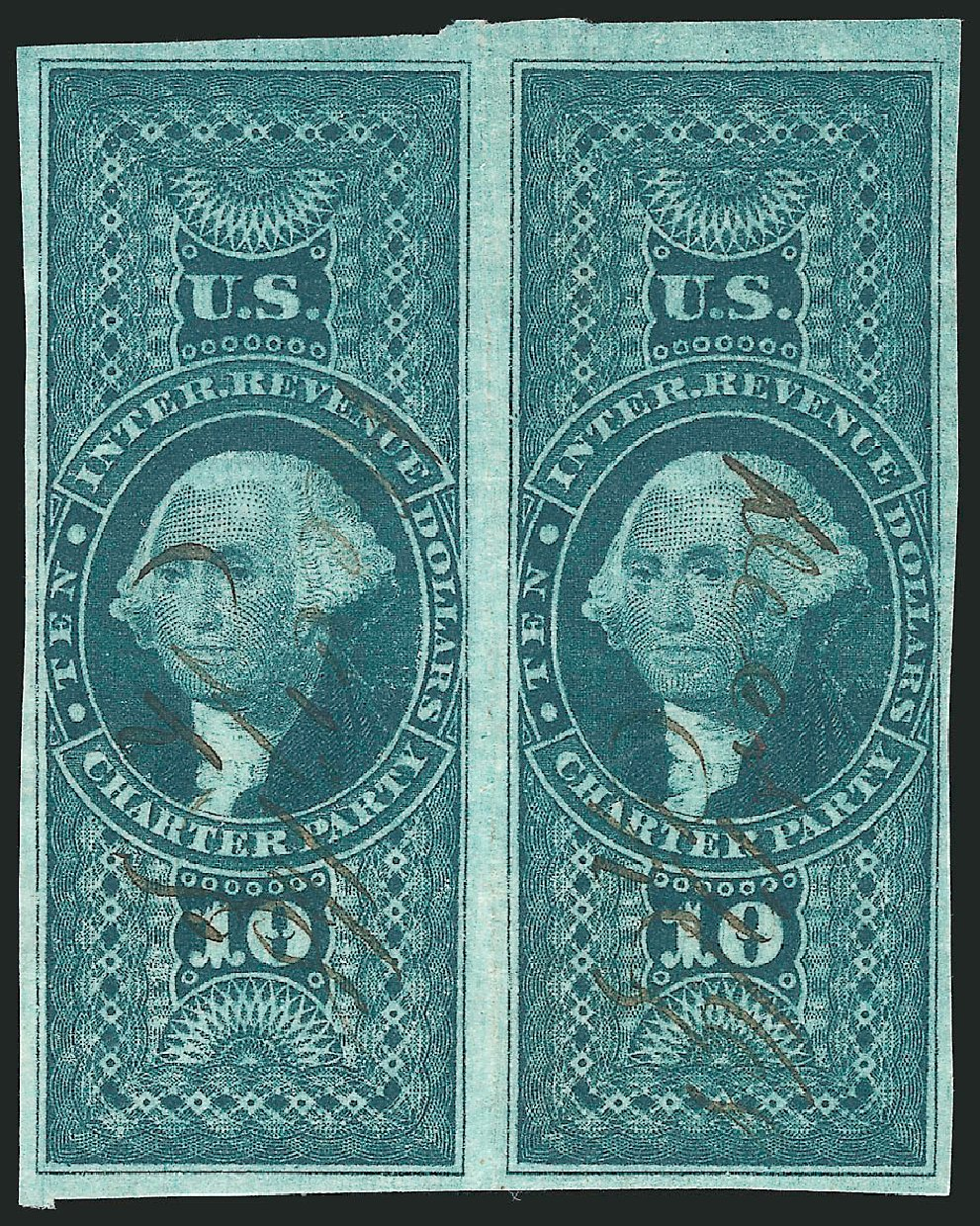 US Stamps Value Scott Catalogue R93: US$10.00 1862 Revenue Charter Party. Robert Siegel Auction Galleries, Dec 2014, Sale 1089, Lot 261