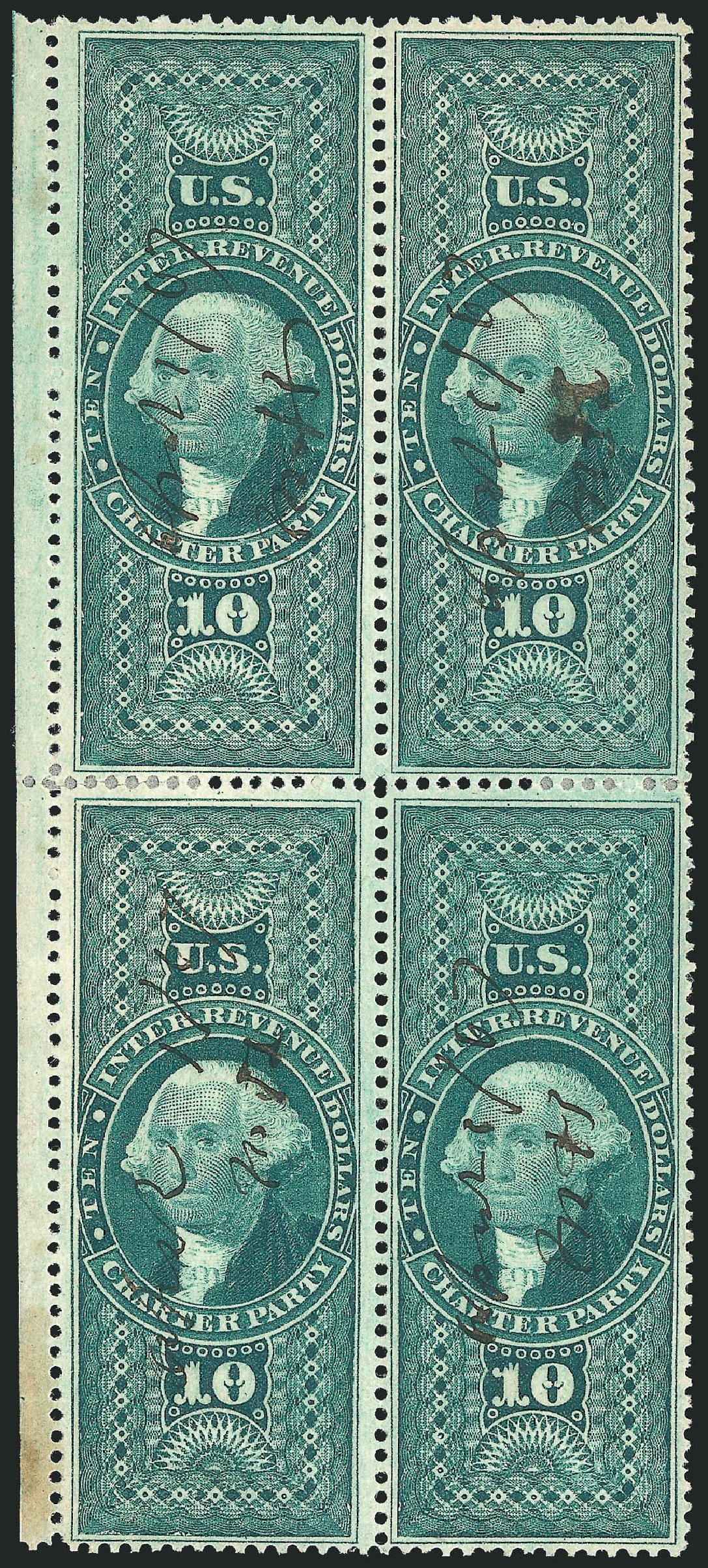 US Stamp Value Scott Cat. R93: US$10.00 1862 Revenue Charter Party. Robert Siegel Auction Galleries, Dec 2014, Sale 1089, Lot 441