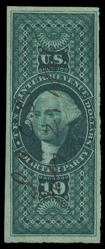 Cost of US Stamps Scott R93: US$10.00 1862 Revenue Charter Party. Daniel Kelleher Auctions, Jan 2012, Sale 628, Lot 764