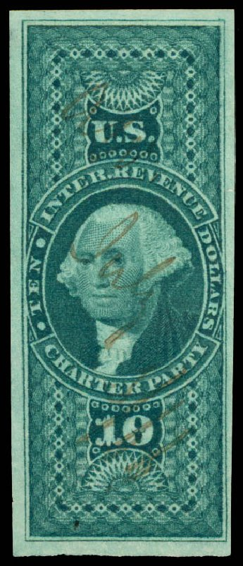 US Stamps Price Scott Cat. # R93: 1862 US$10.00 Revenue Charter Party. Daniel Kelleher Auctions, Jun 2015, Sale 670, Lot 24