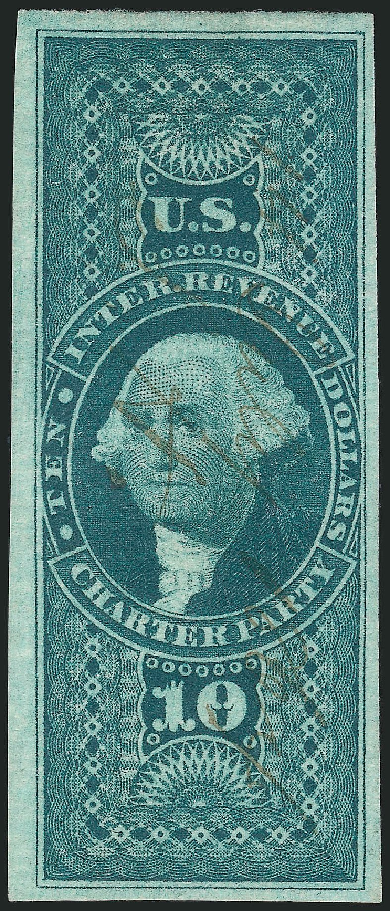 Cost of US Stamps Scott #R93 - US$10.00 1862 Revenue Charter Party. Robert Siegel Auction Galleries, Mar 2014, Sale 1066, Lot 34