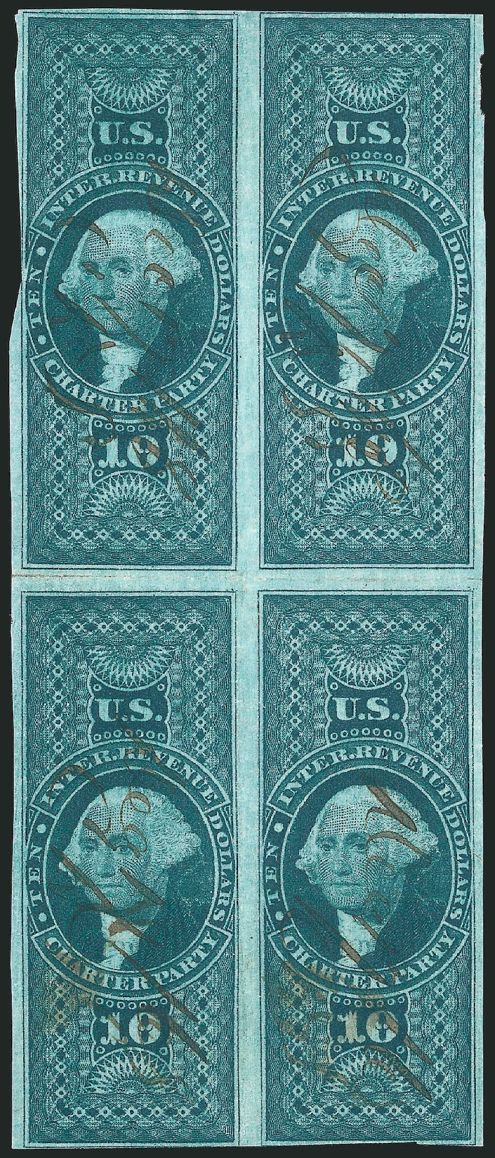 US Stamps Prices Scott Catalogue #R93 - 1862 US$10.00 Revenue Charter Party. Robert Siegel Auction Galleries, Dec 2014, Sale 1089, Lot 374