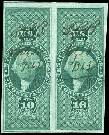 Values of US Stamp Scott #R94 - 1862 US$10.00 Revenue Conveyance. Matthew Bennett International, Mar 2012, Sale 344, Lot 4847