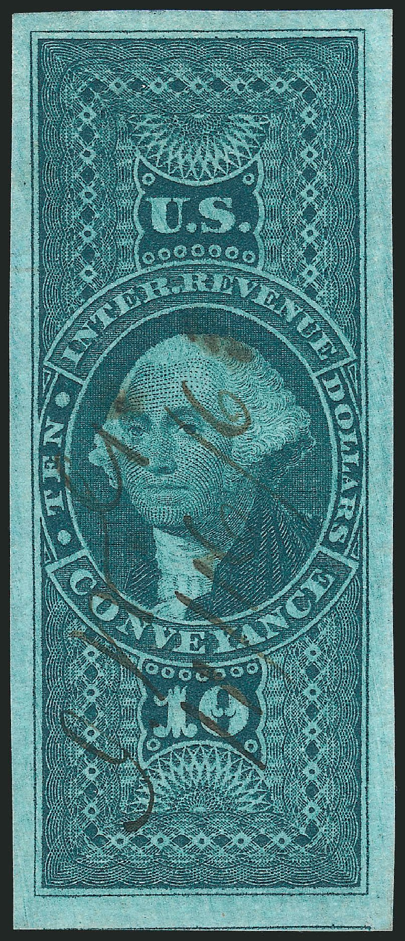 US Stamp Values Scott Catalogue #R94 - 1862 US$10.00 Revenue Conveyance. Robert Siegel Auction Galleries, Feb 2015, Sale 1092, Lot 1499