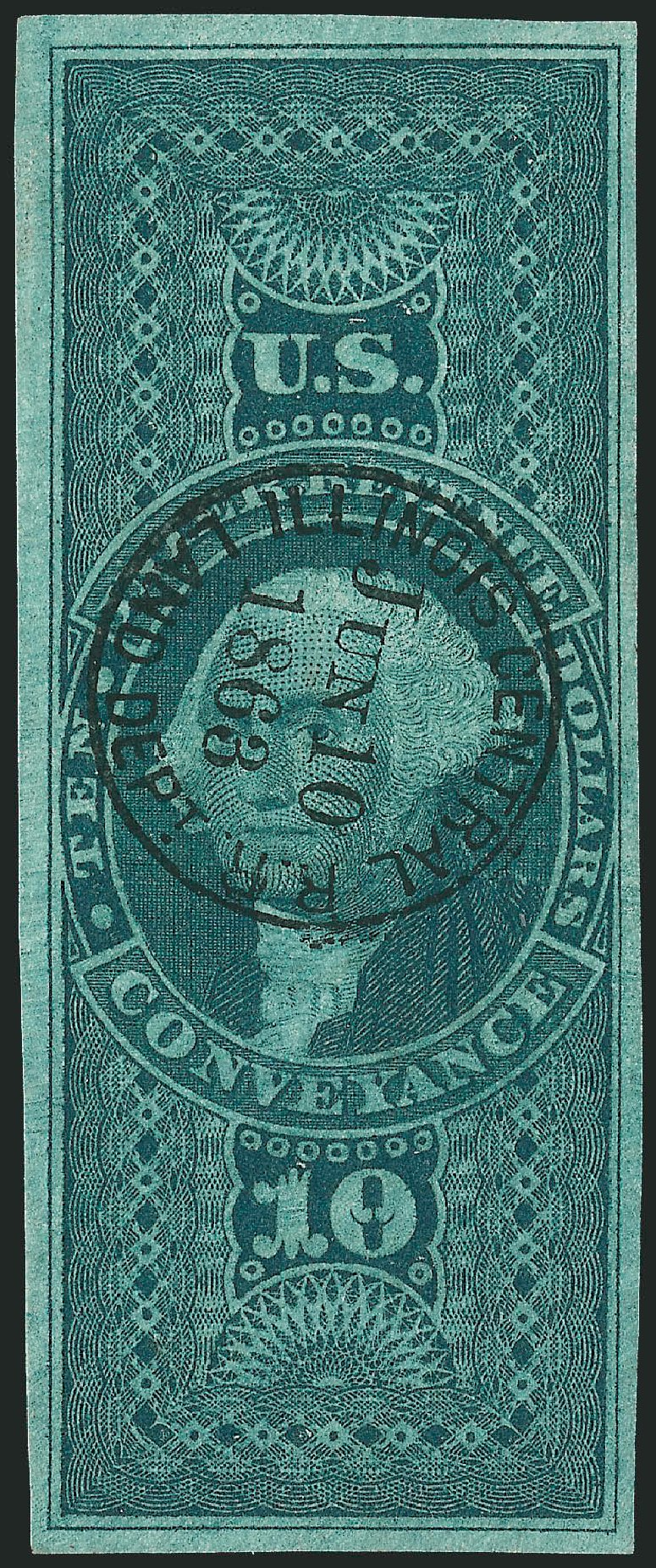 Values of US Stamp Scott # R94 - 1862 US$10.00 Revenue Conveyance. Robert Siegel Auction Galleries, Dec 2009, Sale 978, Lot 1169