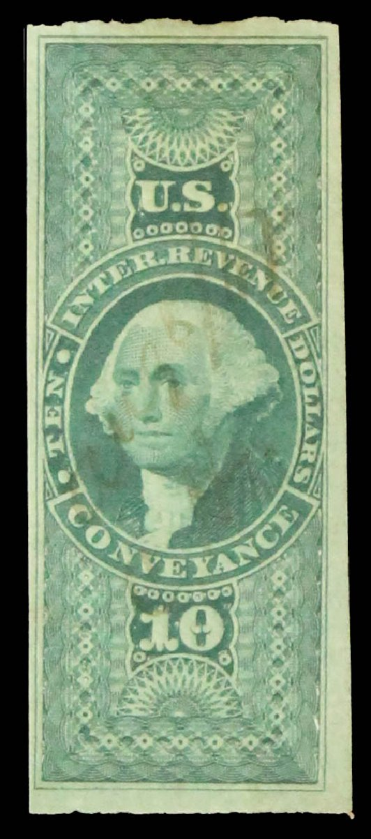 US Stamp Prices Scott #R94 - US$10.00 1862 Revenue Conveyance. Daniel Kelleher Auctions, May 2014, Sale 652, Lot 970