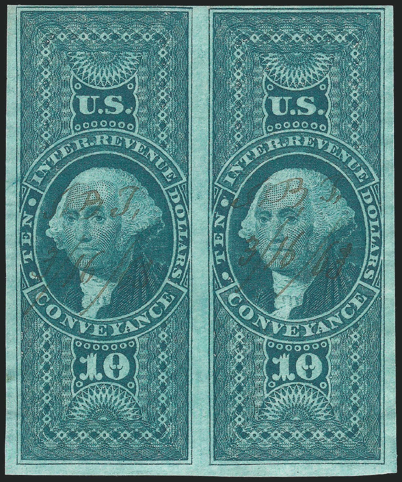 Value of US Stamp Scott Catalog # R94 - US$10.00 1862 Revenue Conveyance. Robert Siegel Auction Galleries, Feb 2015, Sale 1092, Lot 1500
