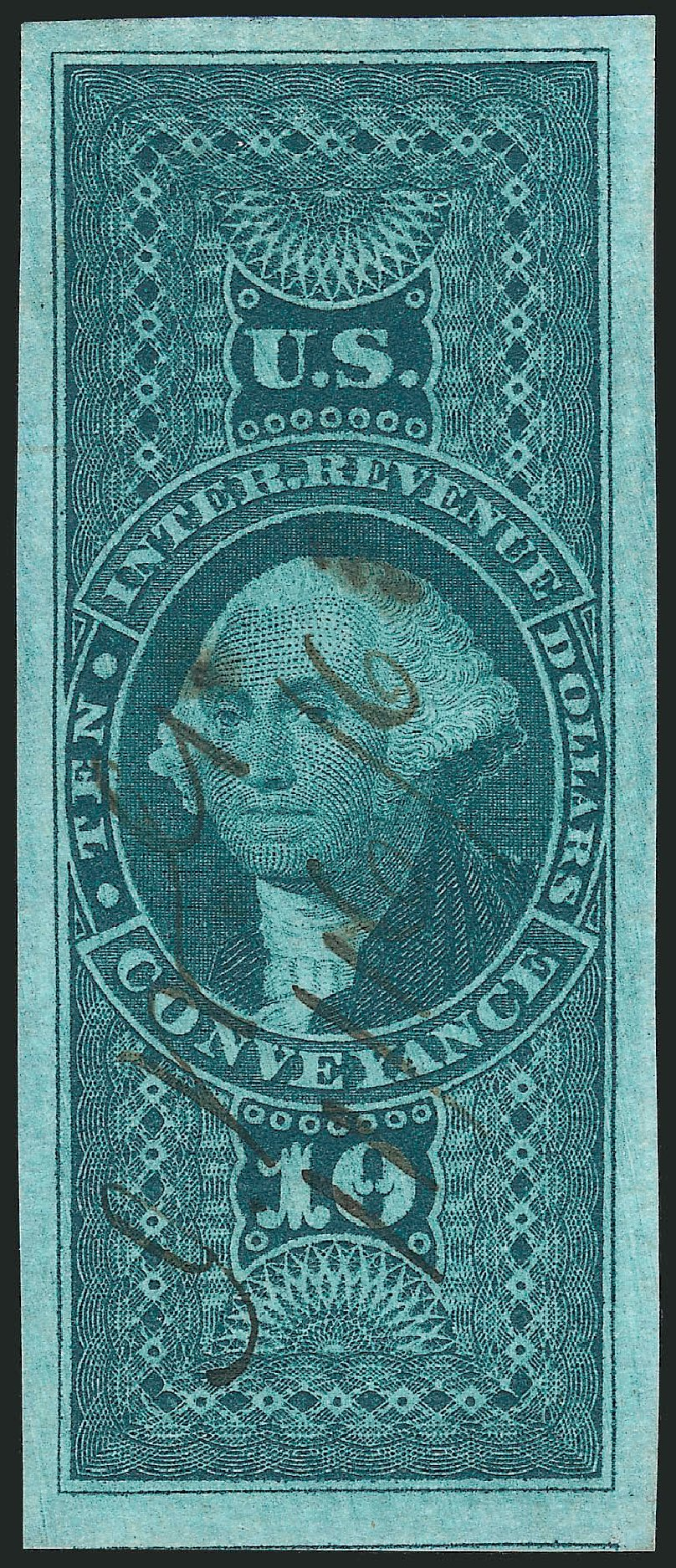US Stamps Values Scott Catalogue # R94: 1862 US$10.00 Revenue Conveyance. Robert Siegel Auction Galleries, Nov 2011, Sale 1015, Lot 31