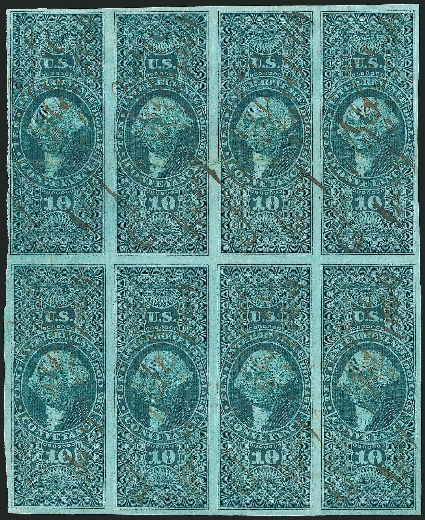 US Stamp Price Scott Catalogue # R94: US$10.00 1862 Revenue Conveyance. Robert Siegel Auction Galleries, Dec 2014, Sale 1089, Lot 375