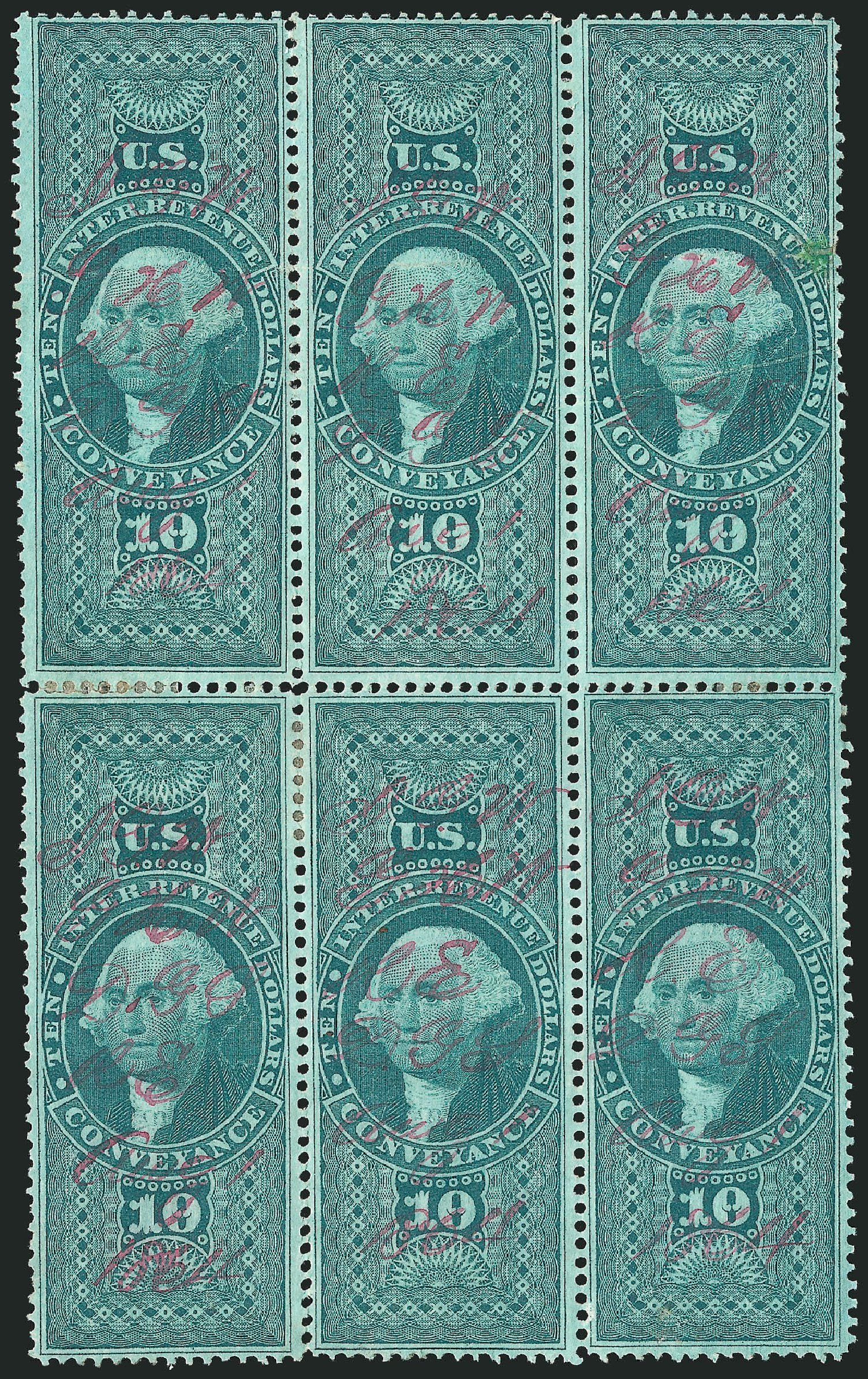 Price of US Stamp Scott Catalog #R94 - US$10.00 1862 Revenue Conveyance. Robert Siegel Auction Galleries, Dec 2014, Sale 1089, Lot 442