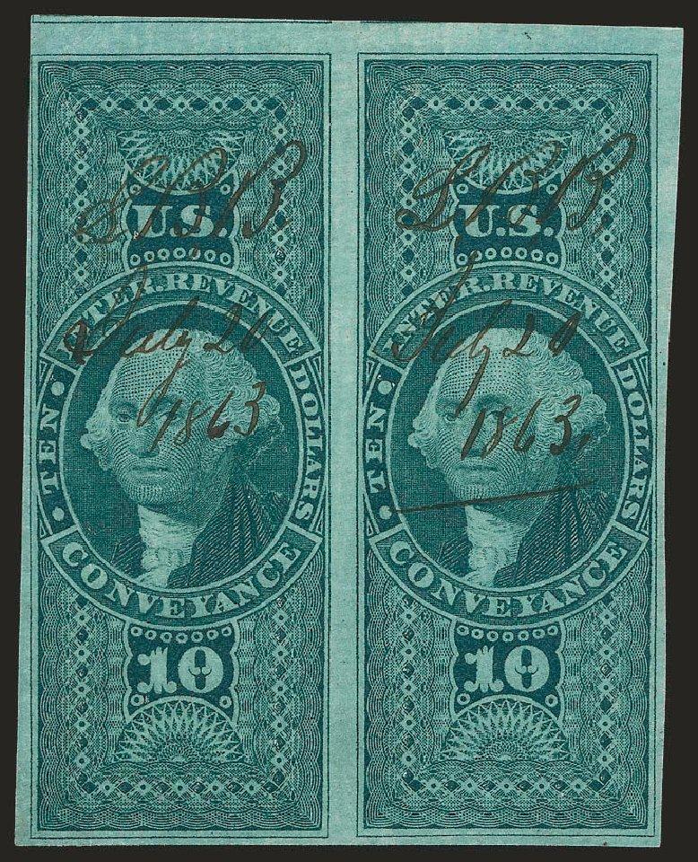 US Stamps Values Scott Cat. #R94 - US$10.00 1862 Revenue Conveyance. Robert Siegel Auction Galleries, Dec 2008, Sale 967, Lot 5242