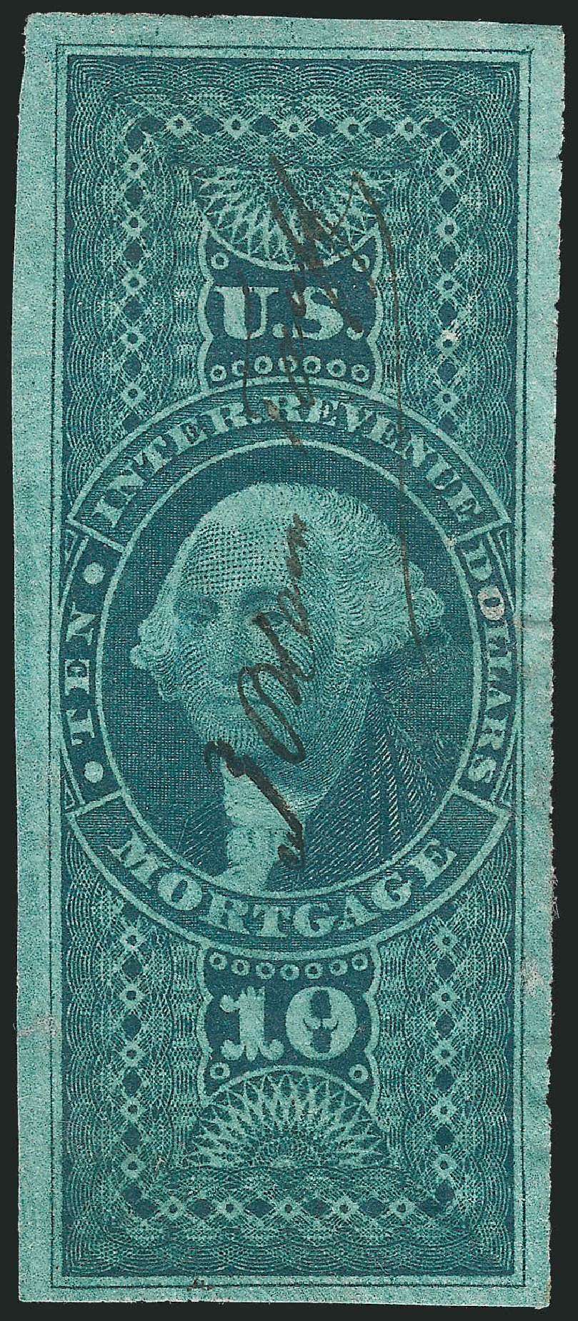 Values of US Stamp Scott R95: 1862 US$10.00 Revenue Mortgage. Robert Siegel Auction Galleries, Oct 2012, Sale 1031, Lot 1017
