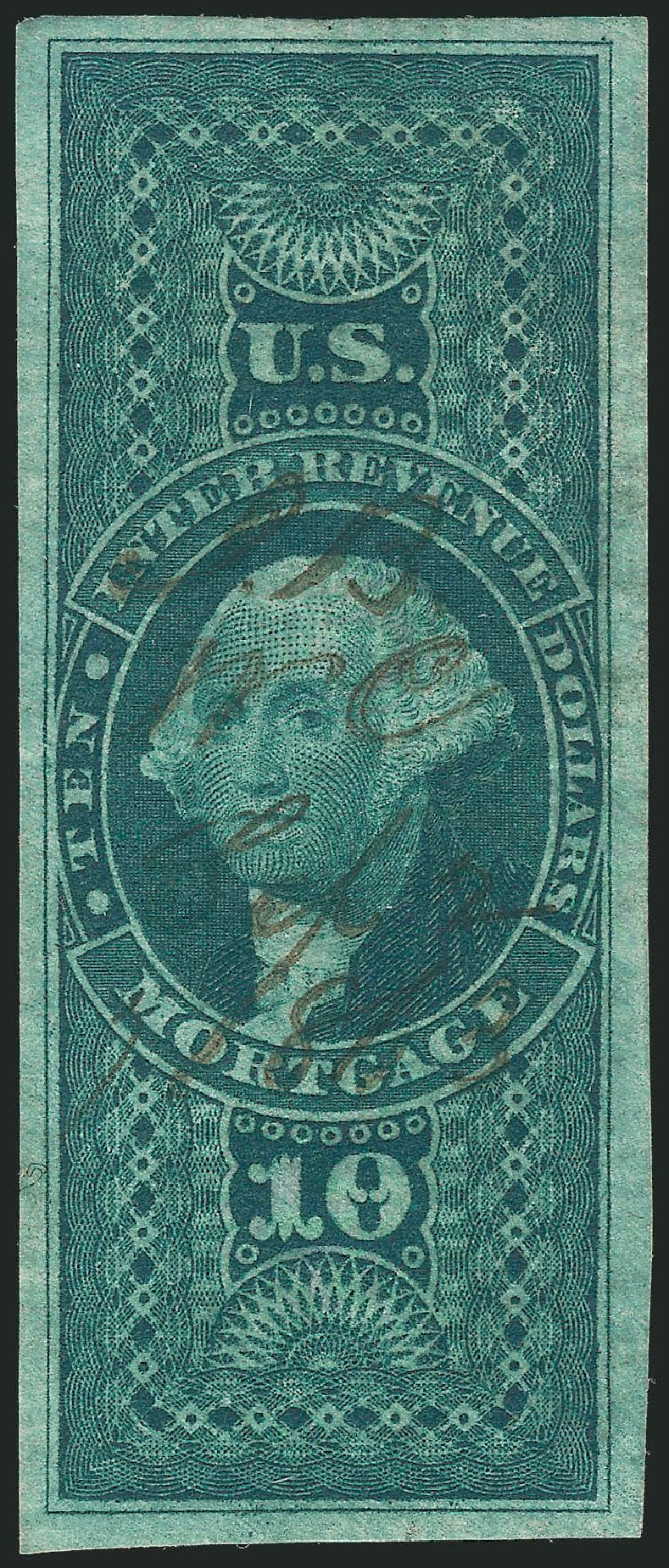 Prices of US Stamp Scott Catalogue # R95 - 1862 US$10.00 Revenue Mortgage. Robert Siegel Auction Galleries, Mar 2014, Sale 1067, Lot 538