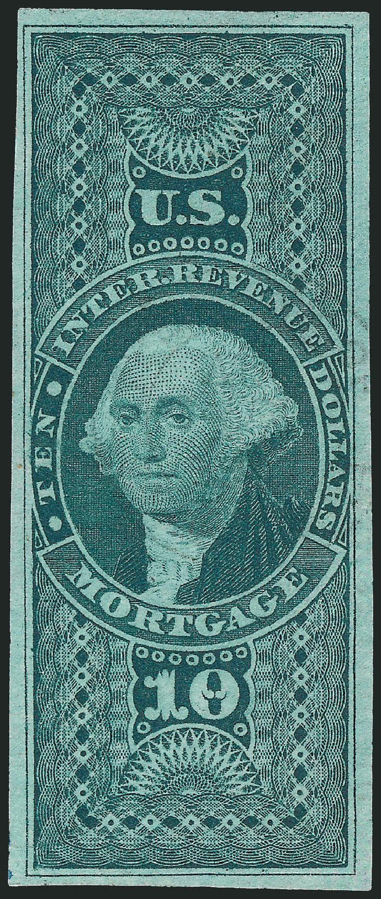 Values of US Stamps Scott Cat. R95 - 1862 US$10.00 Revenue Mortgage. Robert Siegel Auction Galleries, Jul 2014, Sale 1077, Lot 498