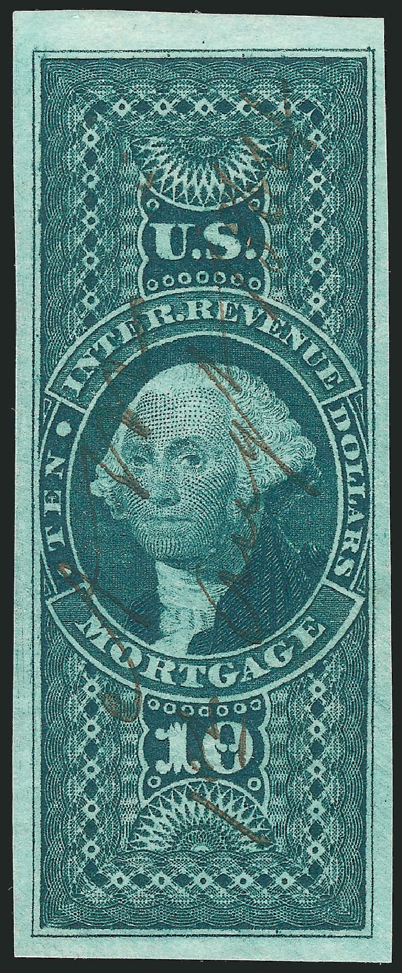US Stamp Value Scott Catalog # R95 - US$10.00 1862 Revenue Mortgage. Robert Siegel Auction Galleries, Feb 2015, Sale 1092, Lot 1501
