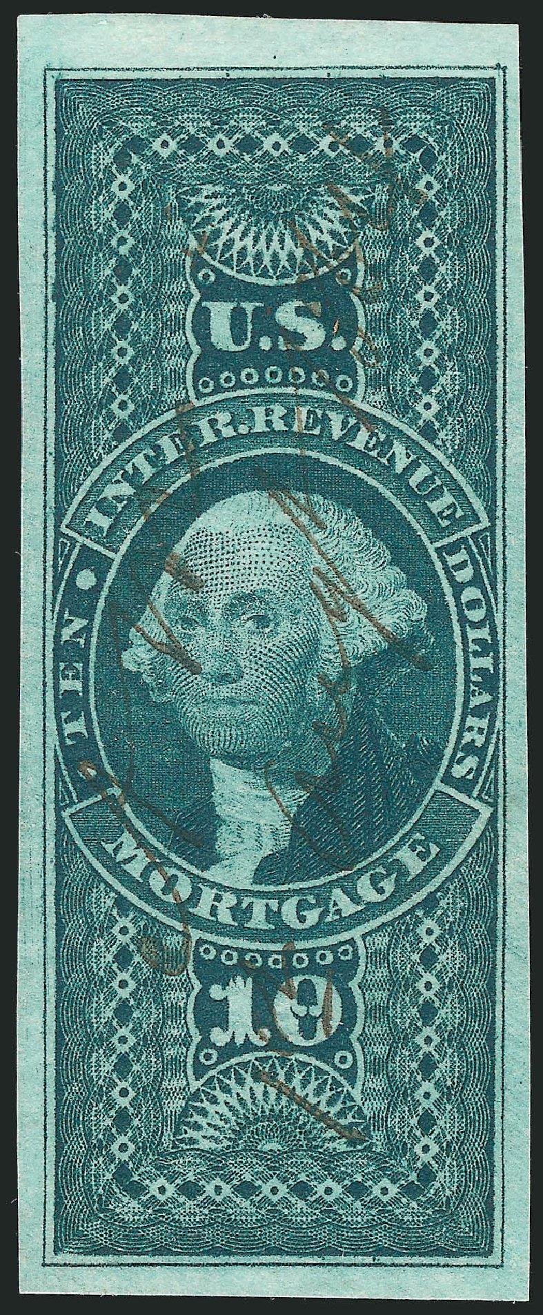 US Stamp Value Scott Catalog # R95 - US$10.00 1862 Revenue Mortgage. Robert Siegel Auction Galleries, Feb 2015, Sale 1092, Lot 1501