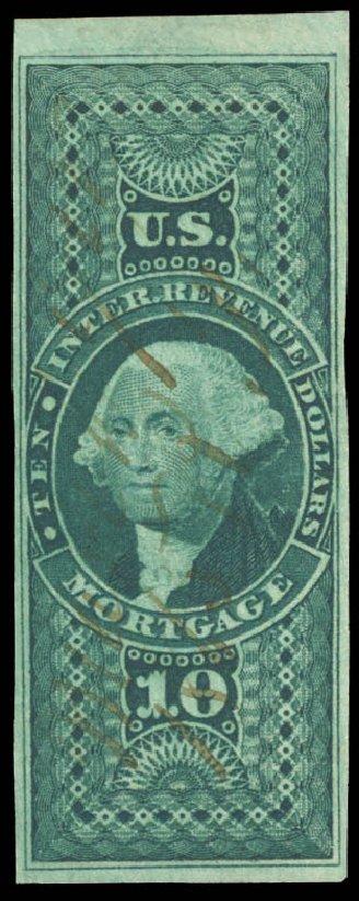 Costs of US Stamps Scott Cat. #R95: US$10.00 1862 Revenue Mortgage. Daniel Kelleher Auctions, Aug 2015, Sale 672, Lot 3074