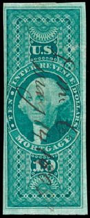 US Stamp Value Scott Catalogue # R95: US$10.00 1862 Revenue Mortgage. Schuyler J. Rumsey Philatelic Auctions, Apr 2015, Sale 60, Lot 2694