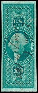 US Stamp Value Scott Catalogue # R95: US$10.00 1862 Revenue Mortgage. Schuyler J. Rumsey Philatelic Auctions, Apr 2015, Sale 60, Lot 2694