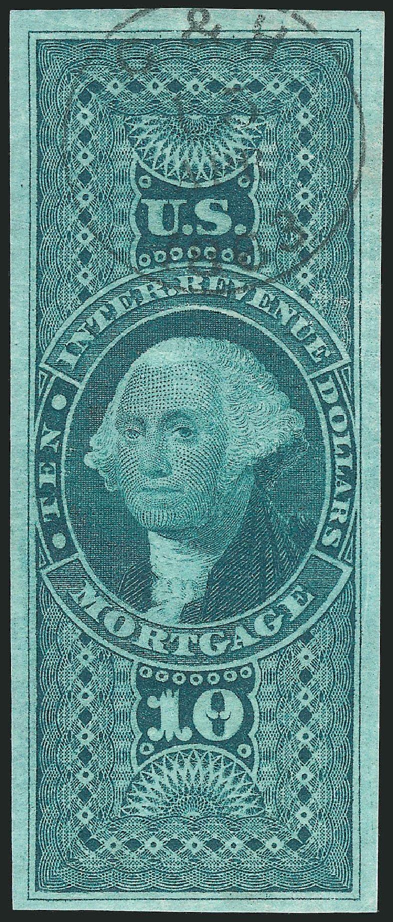 US Stamps Value Scott Catalog #R95 - US$10.00 1862 Revenue Mortgage. Robert Siegel Auction Galleries, Dec 2014, Sale 1089, Lot 264
