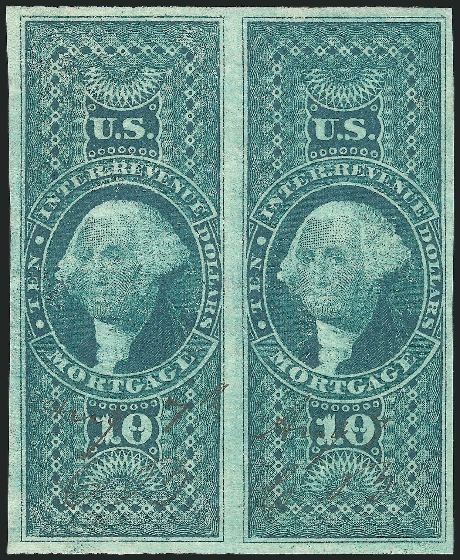 Values of US Stamps Scott Catalogue #R95: US$10.00 1862 Revenue Mortgage. Robert Siegel Auction Galleries, Dec 2014, Sale 1089, Lot 265