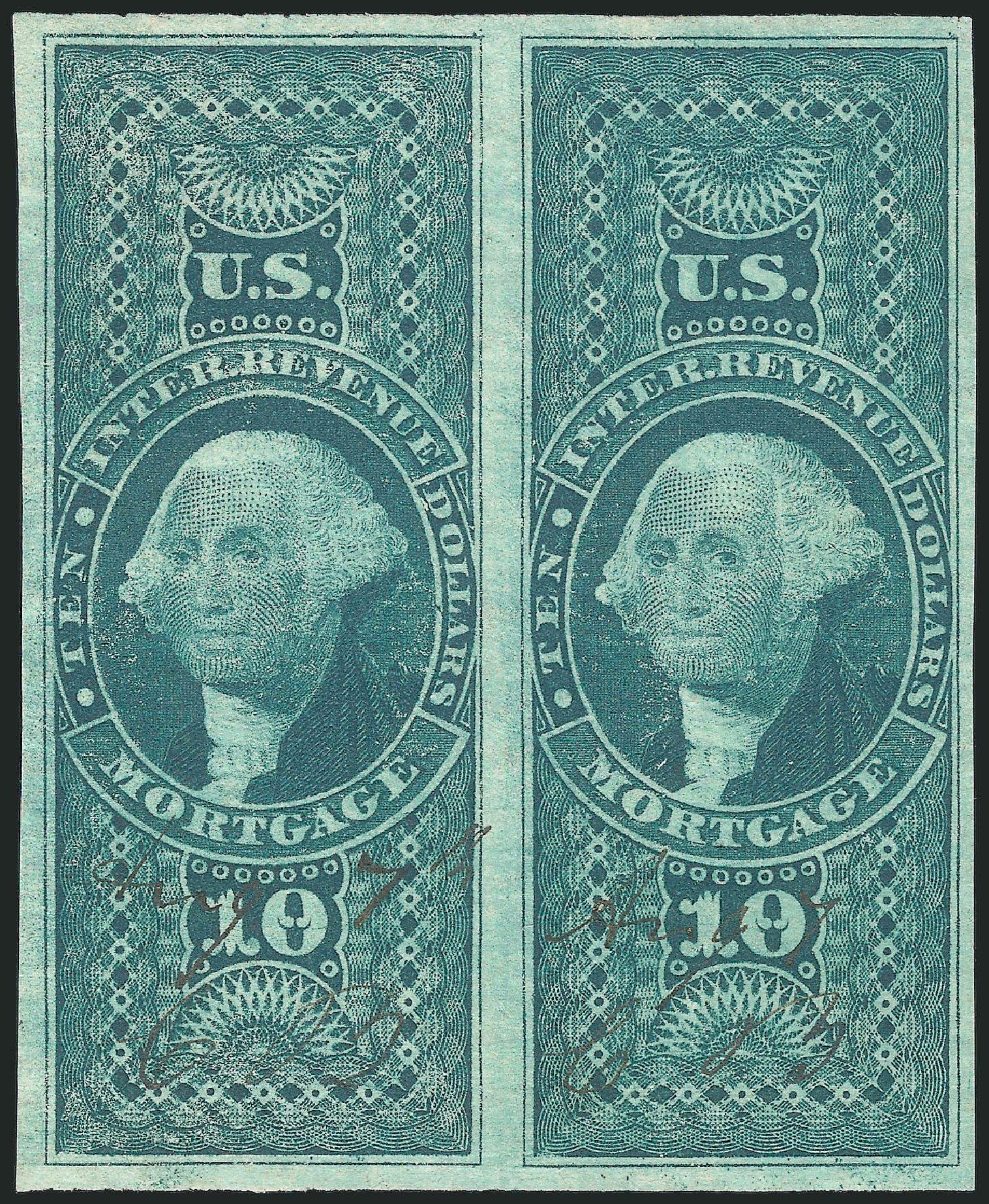 Values of US Stamps Scott Catalogue #R95: US$10.00 1862 Revenue Mortgage. Robert Siegel Auction Galleries, Dec 2014, Sale 1089, Lot 265
