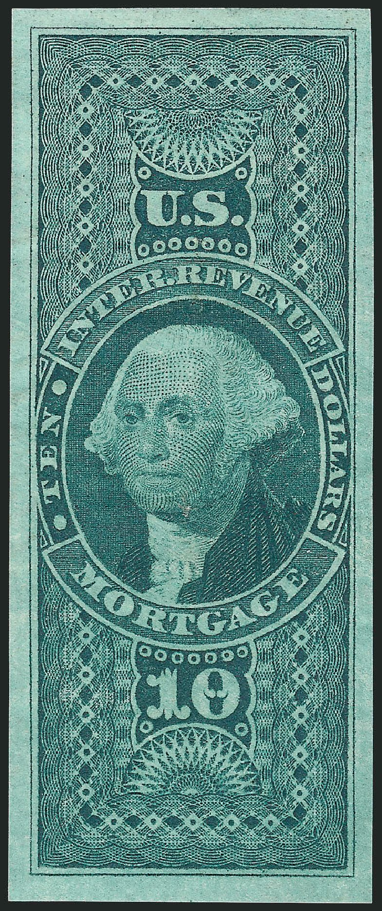 US Stamps Values Scott Cat. # R95 - 1862 US$10.00 Revenue Mortgage. Robert Siegel Auction Galleries, Dec 2014, Sale 1089, Lot 262
