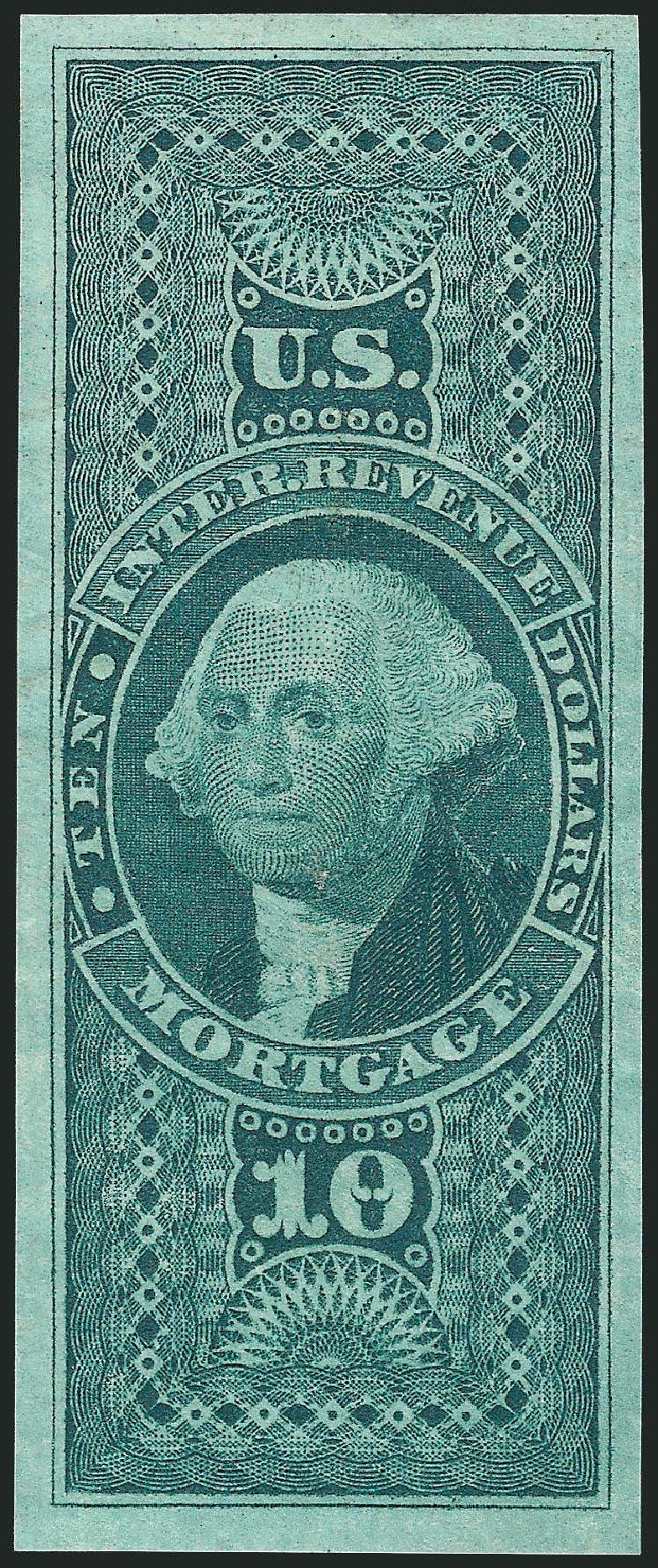 US Stamps Values Scott Cat. # R95 - 1862 US$10.00 Revenue Mortgage. Robert Siegel Auction Galleries, Dec 2014, Sale 1089, Lot 262