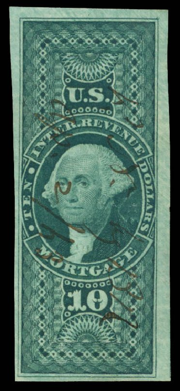 US Stamps Prices Scott Catalog R95: 1862 US$10.00 Revenue Mortgage. Daniel Kelleher Auctions, May 2015, Sale 665, Lot 143