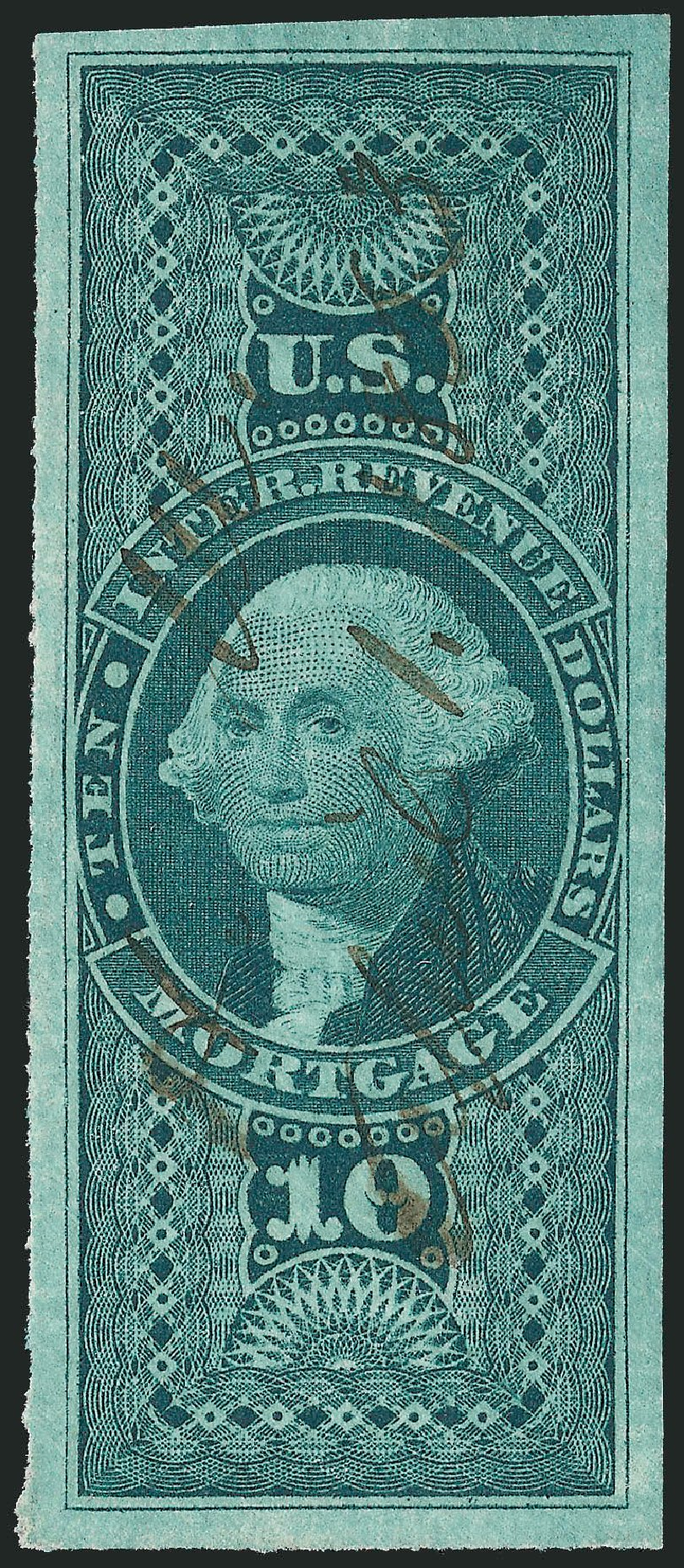US Stamp Values Scott Catalogue #R95: 1862 US$10.00 Revenue Mortgage. Robert Siegel Auction Galleries, Dec 2014, Sale 1089, Lot 263