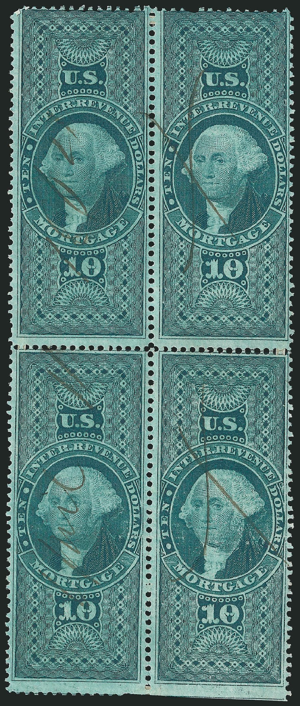 Price of US Stamps Scott # R95 - US$10.00 1862 Revenue Mortgage. Robert Siegel Auction Galleries, Dec 2014, Sale 1089, Lot 443