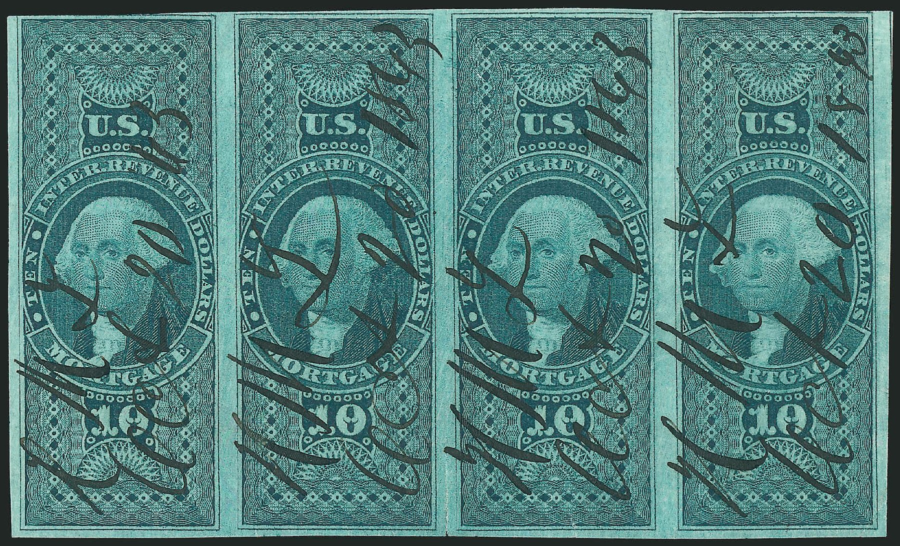 Prices of US Stamp Scott # R95 - US$10.00 1862 Revenue Mortgage. Robert Siegel Auction Galleries, Dec 2014, Sale 1089, Lot 376