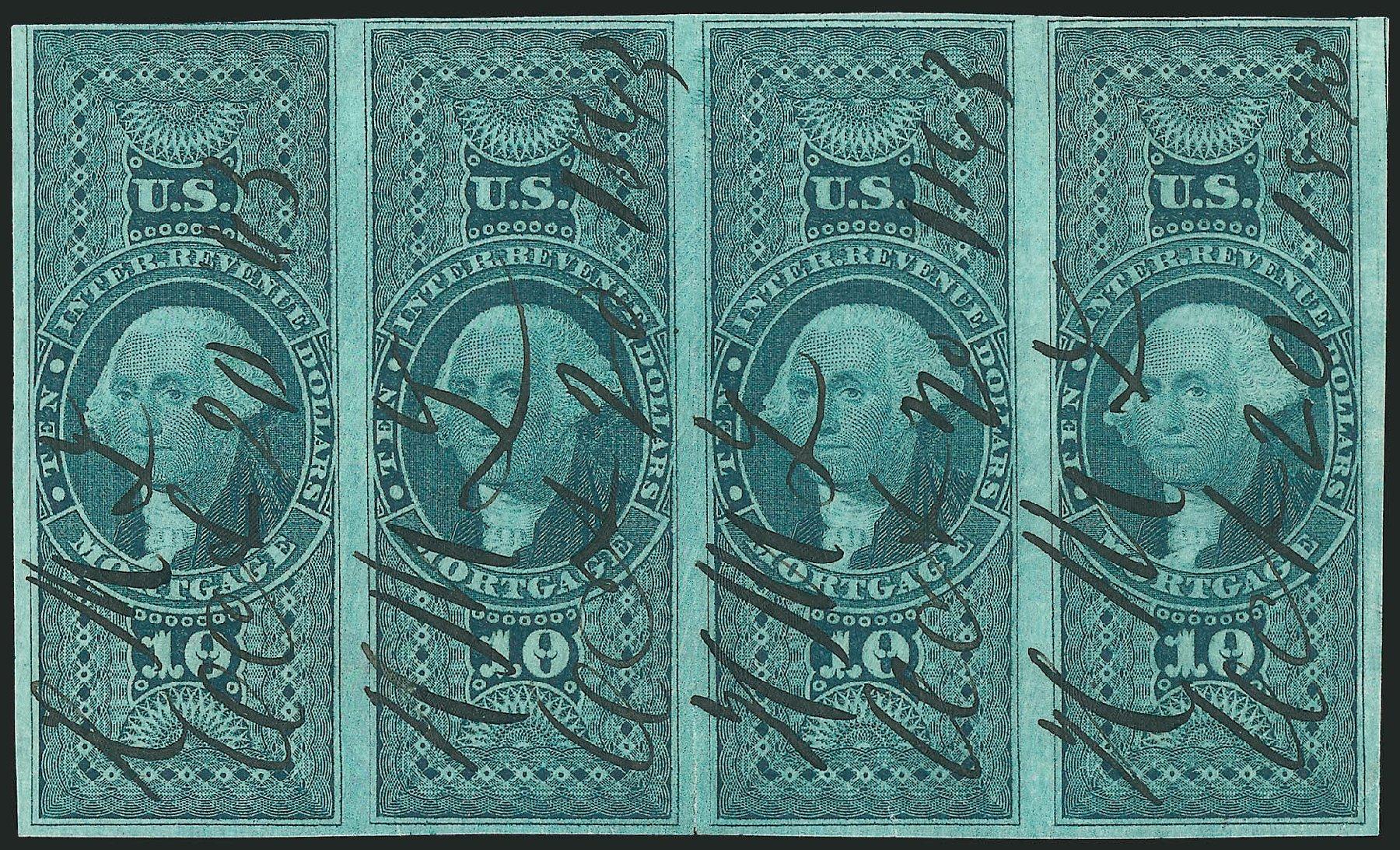 Prices of US Stamp Scott # R95 - US$10.00 1862 Revenue Mortgage. Robert Siegel Auction Galleries, Dec 2014, Sale 1089, Lot 376
