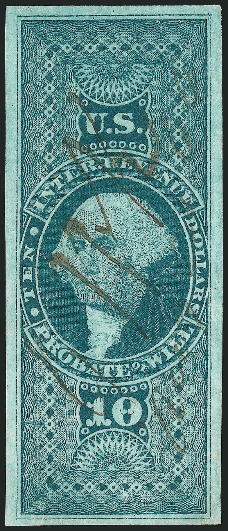 Values of US Stamps Scott Catalog # R96: 1862 US$10.00 Revenue Probate of Will. Robert Siegel Auction Galleries, Dec 2014, Sale 1089, Lot 267