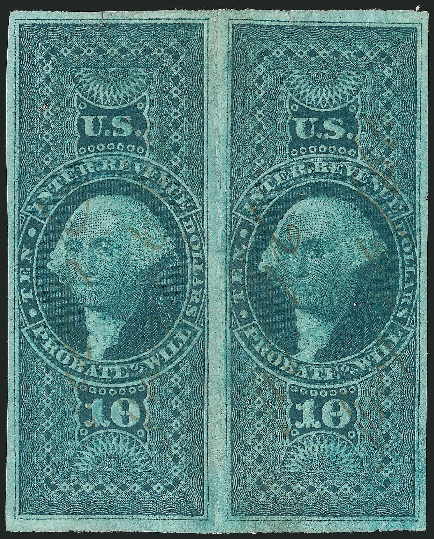 Value of US Stamps Scott Catalog #R96: US$10.00 1862 Revenue Probate of Will. Robert Siegel Auction Galleries, Dec 2014, Sale 1089, Lot 377