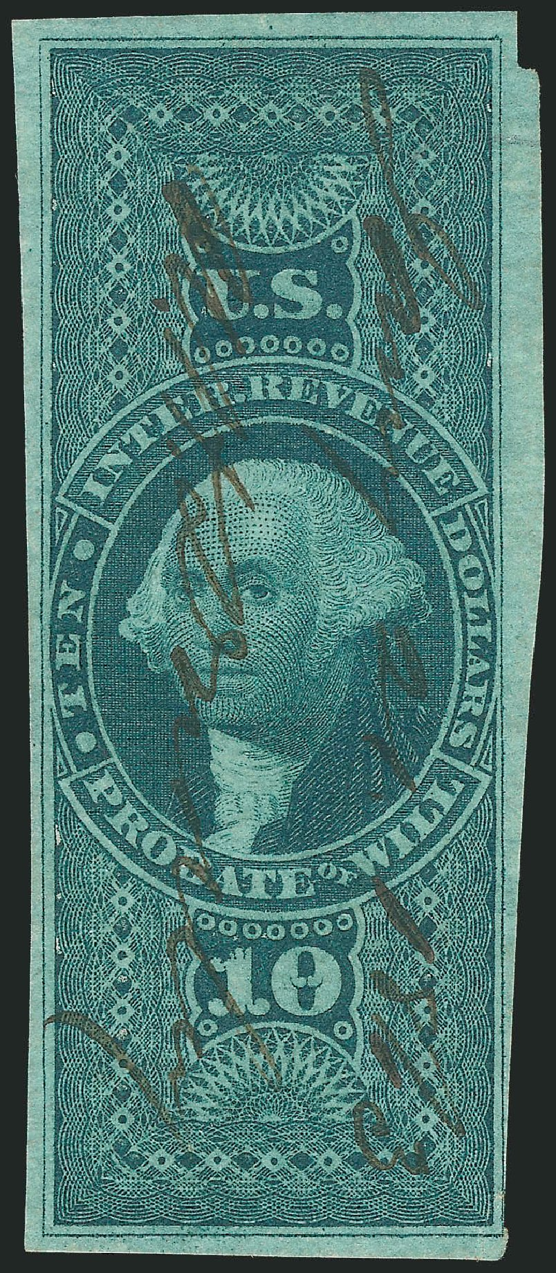 Costs of US Stamps Scott #R96 - 1862 US$10.00 Revenue Probate of Will. Robert Siegel Auction Galleries, Mar 2014, Sale 1067, Lot 539