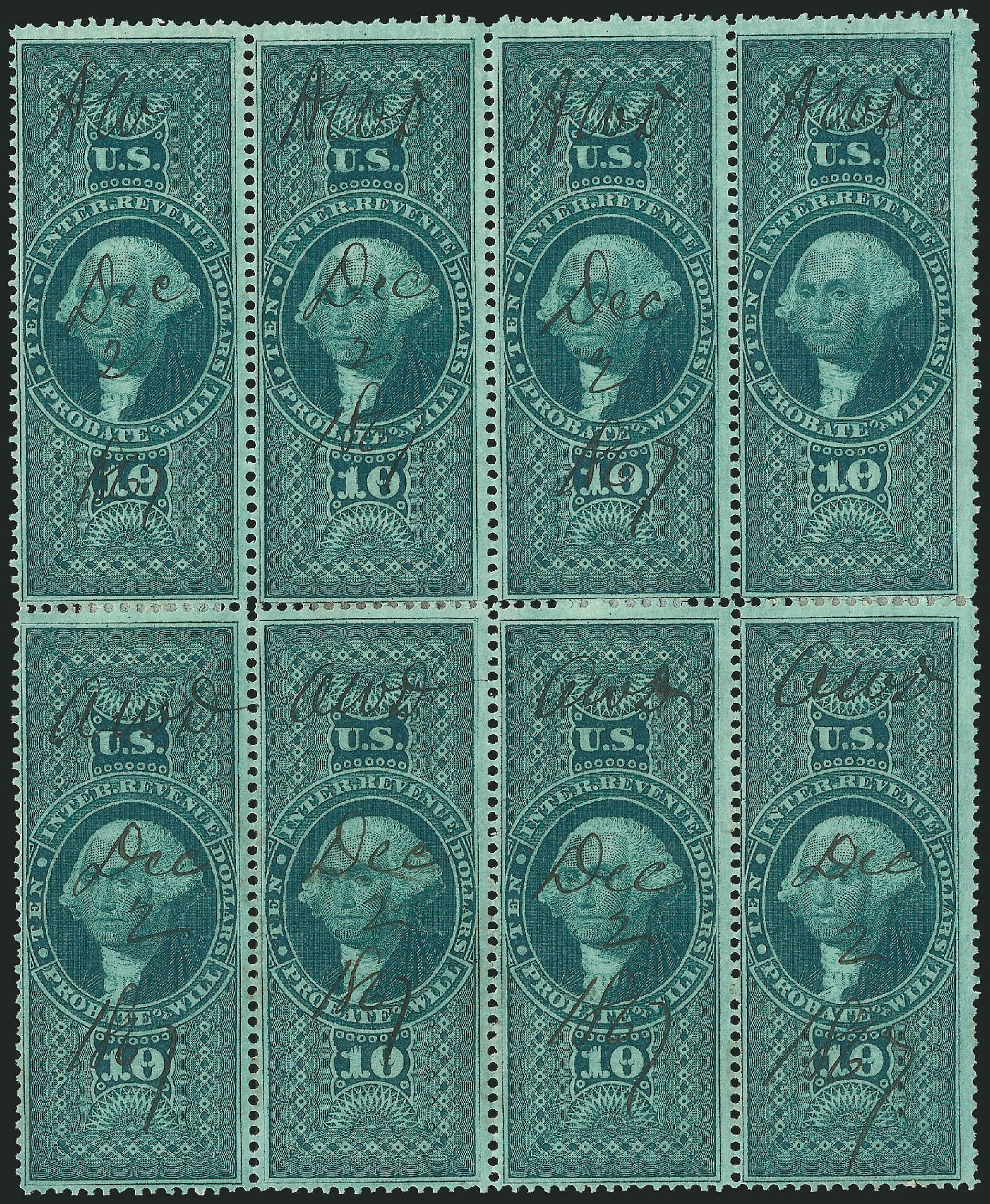 Price of US Stamps Scott # R96 - 1862 US$10.00 Revenue Probate of Will. Robert Siegel Auction Galleries, Dec 2014, Sale 1089, Lot 444