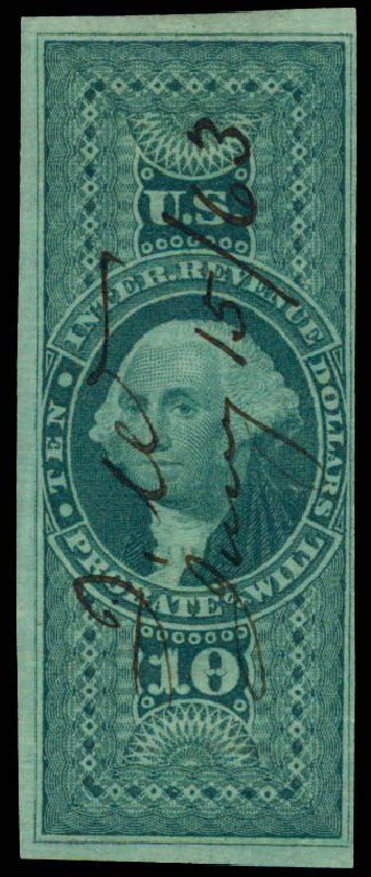 Cost of US Stamp Scott Catalogue R96: US$10.00 1862 Revenue Probate of Will. Daniel Kelleher Auctions, May 2015, Sale 665, Lot 145