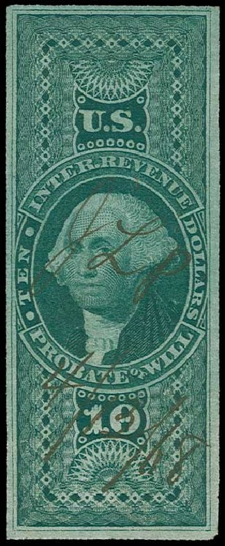 Cost of US Stamp Scott #R96 - US$10.00 1862 Revenue Probate of Will. H.R. Harmer, Jun 2015, Sale 3007, Lot 3542