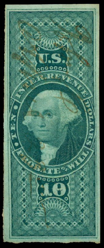 Costs of US Stamp Scott R96: US$10.00 1862 Revenue Probate of Will. Daniel Kelleher Auctions, Jun 2015, Sale 670, Lot 26