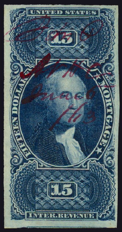 Prices of US Stamp Scott Catalogue #R97 - 1862 US$15.00 Revenue Mortgage. Daniel Kelleher Auctions, May 2015, Sale 665, Lot 147