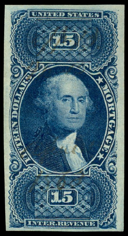 US Stamps Value Scott Cat. # R97 - 1862 US$15.00 Revenue Mortgage. Daniel Kelleher Auctions, Jun 2015, Sale 670, Lot 27