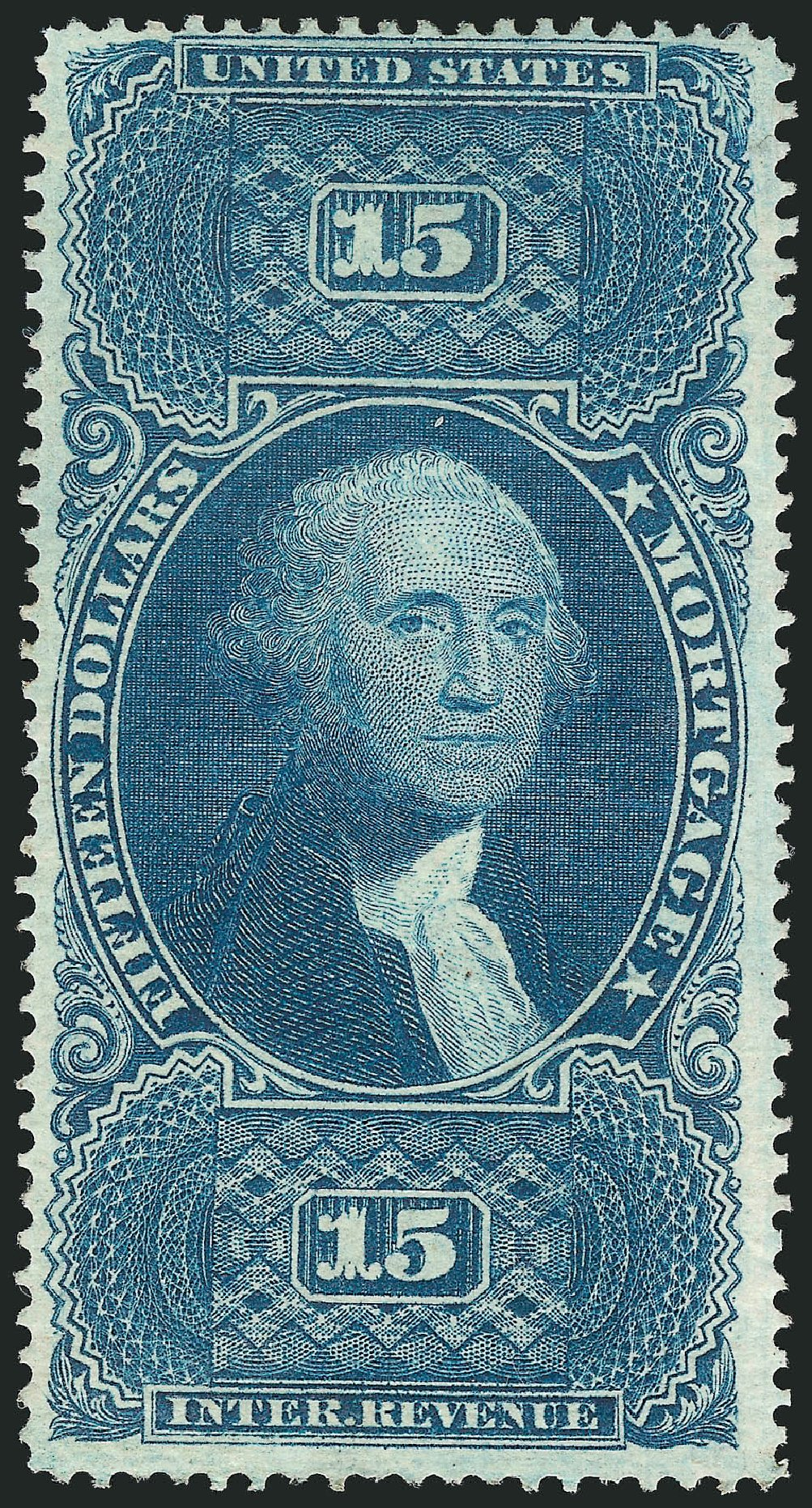 Values of US Stamp Scott Cat. # R97: 1862 US$15.00 Revenue Mortgage. Robert Siegel Auction Galleries, Dec 2014, Sale 1089, Lot 307