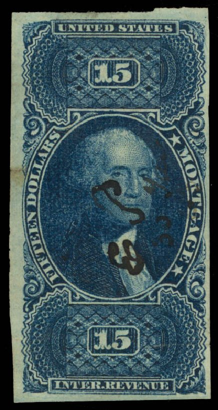 Prices of US Stamp Scott Catalog #R97: 1862 US$15.00 Revenue Mortgage. Daniel Kelleher Auctions, May 2015, Sale 665, Lot 148