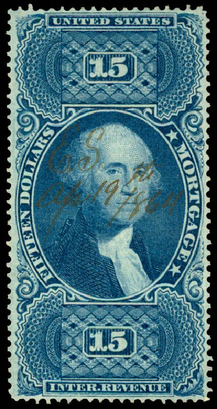 Price of US Stamp Scott Catalog R97: US$15.00 1862 Revenue Mortgage. Daniel Kelleher Auctions, Jun 2015, Sale 670, Lot 28
