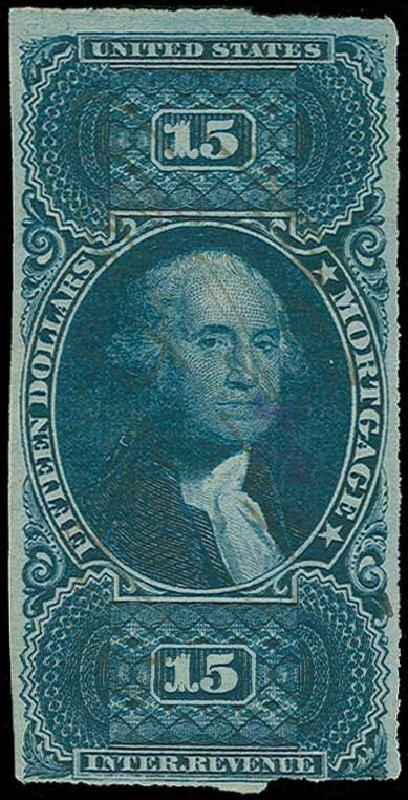 Values of US Stamps Scott Catalog #R97: 1862 US$15.00 Revenue Mortgage. H.R. Harmer, Jun 2015, Sale 3007, Lot 3543